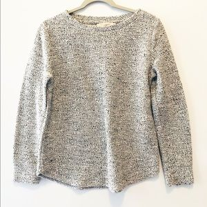 LOFT Black and White Crew Neck Nubby Sweater M